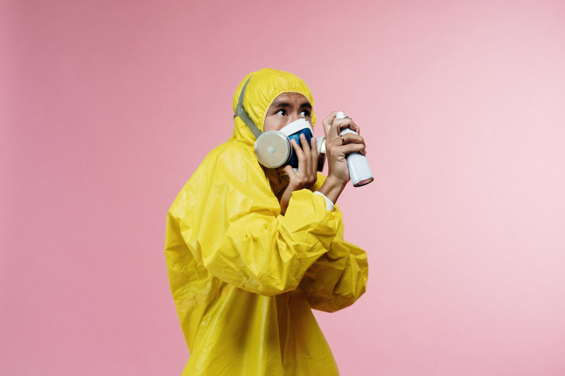 person in yellow protective suit